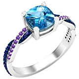 Dazzlingrock Collection 6 mm Cushion Blue Topaz & Round Blue Sapphire & Amethyst Ladies Swirl Engagement Ring, Sterling Silver, Size 4