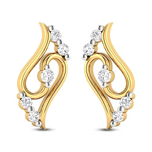 0.50 Carats White Diamond Stud Earrings Solid 14k Yellow Gold Certified Diamond Earrings For Women Anniversary Wedding Gift For Her