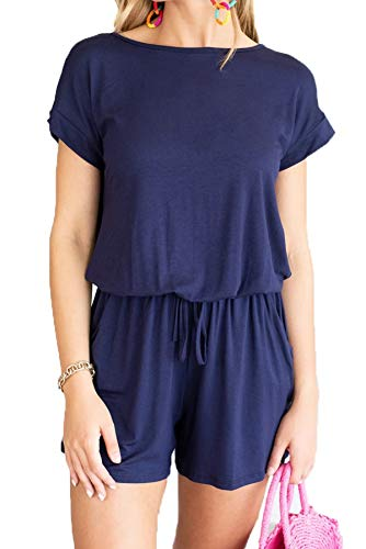 Dretasy Women Casual Short Sleeve Summer Beach Romper Round Neck Elastic Waist Shorts Jumpsuit with Pockets (S, Navy Romper)