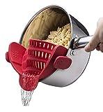 Colador/escurridor de olla a presión roja, colador de silicona suave, olla con clip/cacerola/tazón - Colador de pasta de fideos con frutas y verduras, accesorios de cocina
