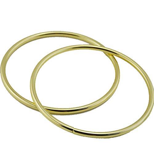 1 par de mangos de metal redondos de repuesto para bolsos hechos a mano con asa y marco encantador, bolsa de la compra de lona con color dorado