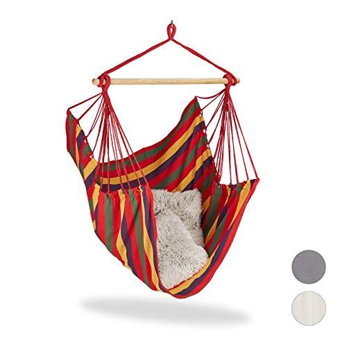 Relaxdays Hängesitz, XL Hängesessel aus Baumwolle, für Kinder & Erwachsene, Aufhängung, In- & Outdoor, bis 150 kg, bunt