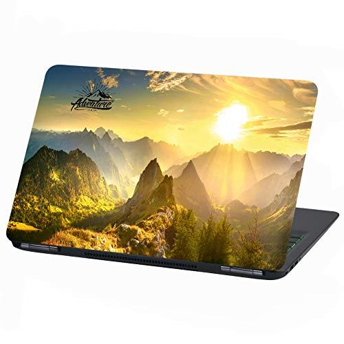 Laptop Folie Cover Adventure Klebefolie Notebook Aufkleber Schutzhülle selbstklebend Vinyl Skin Sticker (15 Zoll, LP14 Mountain Sun)