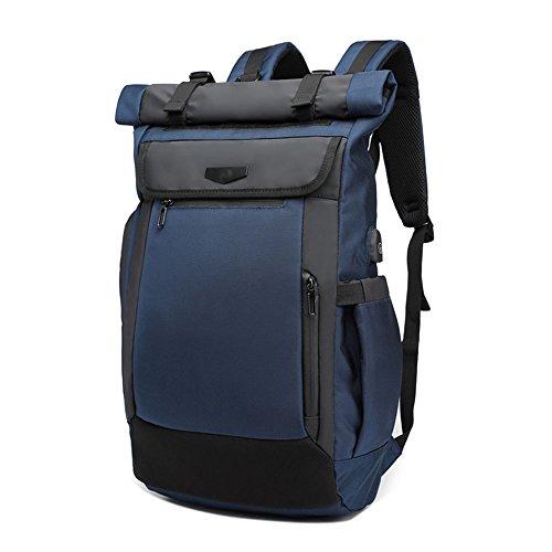 Neuleben Rucksack Roll Top Kurierrucksack mit USB Ladeport Laptopfach Brustgurt Wasserabweisend Ruckäcke Daypack für Damen Herren (Blau)