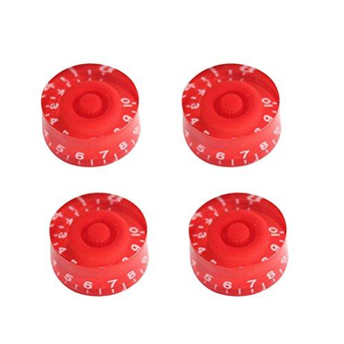 Healifty Gitarre Knöpfe Potiknöpfe mit Weiß Zahlen für Gibson Epiphone Stil E-gitarre Teile Ersatz 4 STÜCKE (Rot)