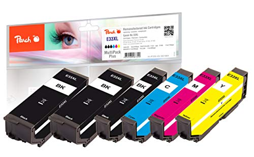 Peach E33 Spar Pack Plus Druckerpatronen XL (2xBK, PBK, C, M, Y) ersetzt Epson T3357, No. 33XL, C13T33574010 für z.B. Epson Expression Premium XP -530, Epson Expression Premium XP -630