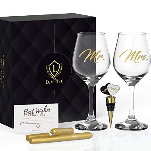 LUXLOVE Mr & Mrs Wine Glasses Set for Couples | Best Engagement Gifts for...