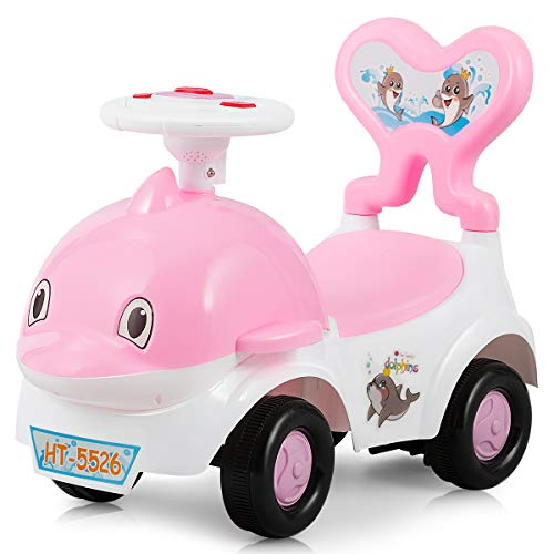 Baby Joy 3 in 1 Push and Ride Racer for Kids, Ride-on Toy, Walker & Sliding Car, Cartoon Pushing Cart with Sound, Light, Backrest, Safe Brake and Storage Seat, Gift for Toddler Boys & Girls (Pink)