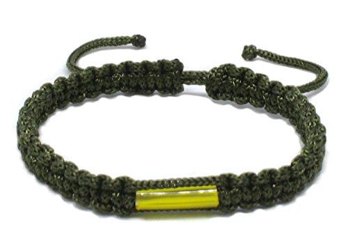 Buddhistisches Armband, handgefertigt, mit Amulett aus Messing, thailändisches Design für Karma, Glück, Liebe, Freundschaft, Yoga, Meditation, Achtsamkeit, dunkelgrün