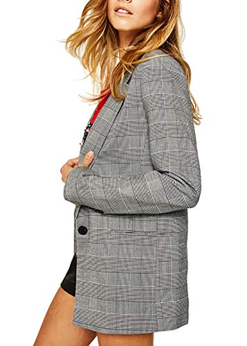 QZUnique Women's Lapel Open Front Button Blazer Grey Stripe Grid Vent Oversize Sport Coat Loose Jacket Suit US S