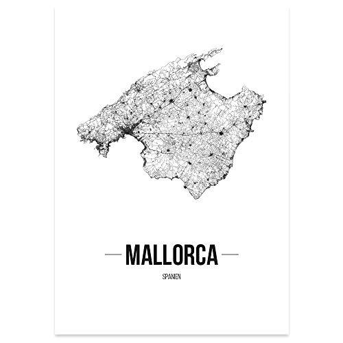 JUNIWORDS Stadtposter, Mallorca, Wähle eine Größe, 21 x 30 cm, Poster, Schrift B, Weiß