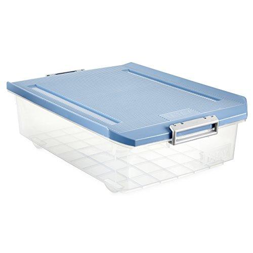 TATAY 1151207 - Caja de Almacenamiento Multiusos Bajo Cama con Tapa, 32 l de Capacidad, Plástico Polipropileno Libre de BPA, Azul, 40 x 56 x 17,5 cm