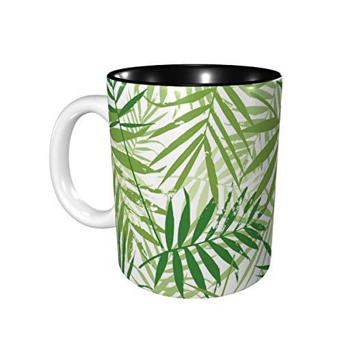 Women Men Mugs Travel Mug With Curved Handle Fashion Greenery Palm Leaves Seamless Pattern Coffee Mug Tea Mug For The Office Best Boss Gifts For Women Female Suitable For Microwave