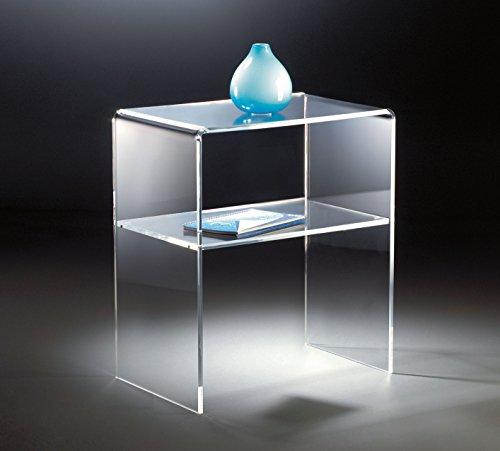 HOWE-Deko Hochwertiger Acryl-Glas Beistelltisch/Nachttisch/Endtisch, klar, 50 x 38 cm, H 60 cm, Acryl-Glas-Stärke 10 mm