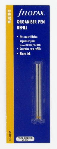 Filofax - Recambio para tinta de mini bolígrafo (2 unidades), color negro