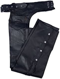 Hot Leathers Heavyweight Leather Chaps (Black, XX-Small)