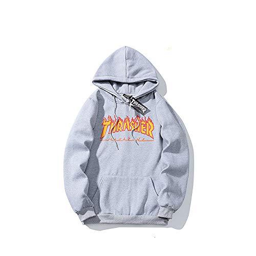 ZALA Sudadera Capucha Pullover Hood para Hombres y Mujeres con el Mismo Párrafo hoodie, Classic Print Plus Suéter con Capucha de Skategoat Terciopelo (gray,M)