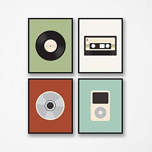 DLFALG Retro Music Boys CD Poster Print Music Through The Ages Cuadro de arte de pared Registro Pintura de lienzo para habitación de niños Decoración para el hogar-40x50cmx4 Sin marco