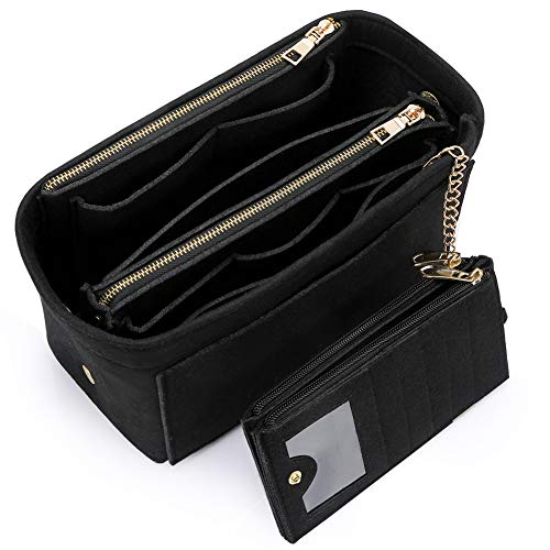 HyFanStr Taschenorganizer Filz mit Kreditkartenetui, Handtaschen Organizer mit ReißVerschluss für Neverfull Speedy, Innentaschen für Handtaschen Schwarz Klein