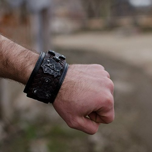 Thor's Hammer Mjolnir Men's cuff leather men bracelet with metal inserts Scandinavian Viking style FREE SHIPPING custom size