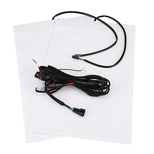 SANON 1 Juego (2 Almohadillas Calefactoras + 1 Interruptor Redondo) Kit de Almohadillas Calefactoras de Asiento Calefactadas para Automóvil con Fibra de Carbono Universal Automática
