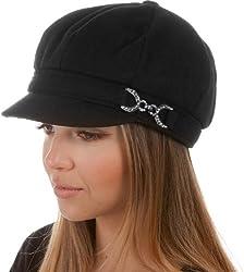 Black Jessica Unisex Wool Newsboy Cabbie Hat