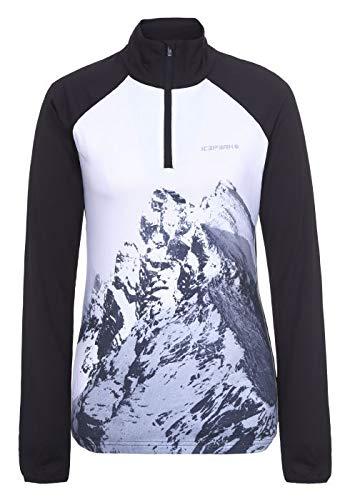 ICEPEAK Finley 1/2 Zip - Sudadera de esquí para Mujer, Color Negro, Blanco y Gris, tamaño Large