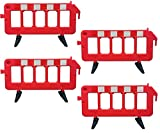 Electriduct 6.4 Feet Portable Safety Traffic Barricade Plastic Fence Crowd Control Barrier Red (3.25 Feet High) Pack of 4