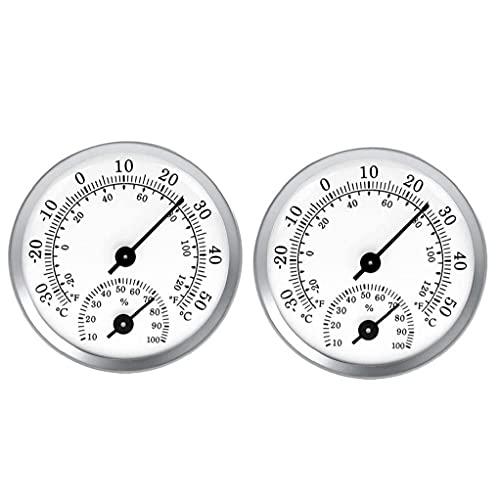 fregthf Termómetro Higrómetro Puntero Temperatura Temperatura Humedad Medidor para Coche Greenhouse 2pcs Blanco