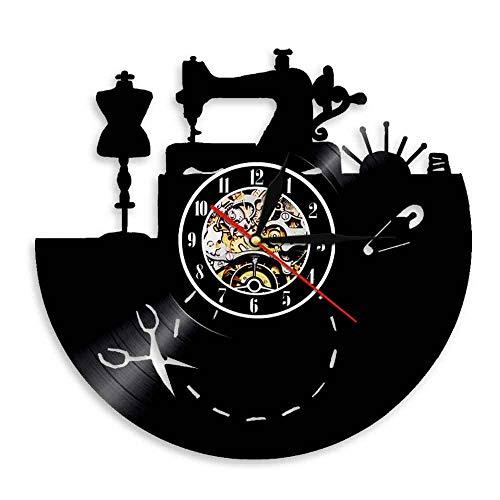 BBZZL Máquina de Coser Reloj de Vinilo de Pared de Cuarzo Retro Reloj de Pared de Costura Hecho a Mano Reloj de Pared Creativo Art Deco Sastrería Sin LED