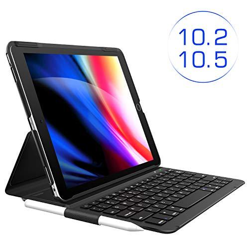 iPad 7th Generation Case with Keyboard, iPad 10.2 Keyboard case - Keyboard for iPad Air 3rd Gen 10.5 2019/iPad Pro 10.5 2017 - Ultra-Slim with Pencil Holder, Folio Smart Keyboard for Apple iPad 10.2