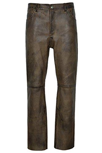 Smart Range 501 Jeans Dirty Brown ciré en Cuir véritable Motard Moto Pantalons Pantalons (32\