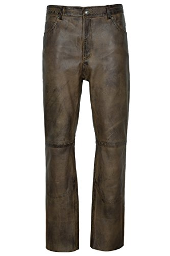 Smart Range 501 Jeans Dirty Brown ciré en Cuir véritable Motard Moto Pantalons Pantalons (32\