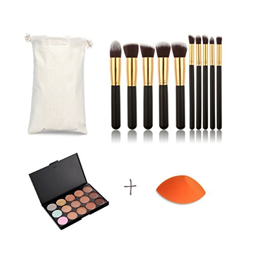 FantasyDay® 15 Couleurs Palettes de Maquillage Crème Correcteur Contour Palette Anti-cernes Mettez en Surbrillance Camouflage Fond de Teint Cosmétique+ 10 Pinceaux Maquillage +1 Éponge Fondation Puff