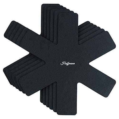 Hoffmann - Protector para sartenes (Fieltro, 38 x 38 cm, 0,6 cm de Grosor, Lavable), Color Negro, Fieltro, Negro, 38 x 38 x 0.6 cm