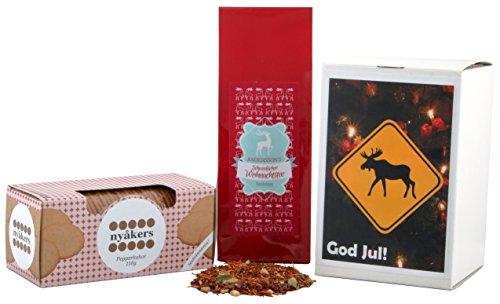 Geschenkset - God Jul! - Wichtelgeschenk - Schwedische Weihnachten (Pfefferkuchen + Weihnachtstee) Die perfekte Geschenk zu Weihnachten