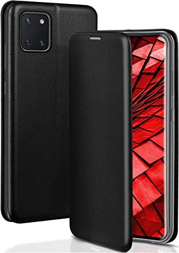 ONEFLOW Handyhülle kompatibel mit Samsung Galaxy Note10 Lite - Hülle klappbar, Handytasche mit Kartenfach, Flip Hülle Call Funktion, Klapphülle in Leder Optik, Schwarz