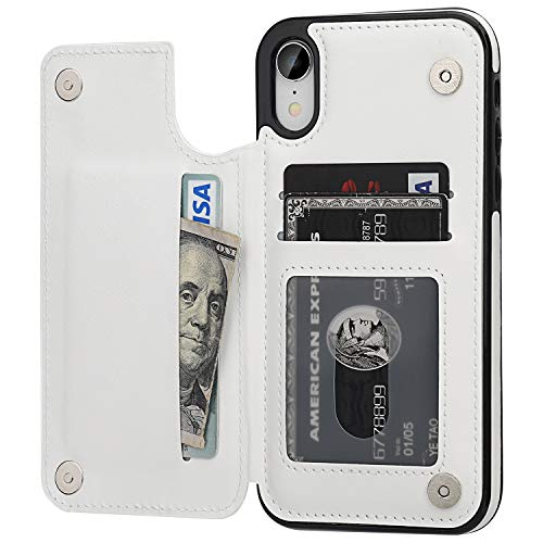 OT ONETOP iPhone XR Wallet Case with Card Holder, Premium PU Leather Kickstand Card Slots Case,Double Magnetic Clasp and Durable Shockproof Cover for iPhone XR 6.1 Inch(White)