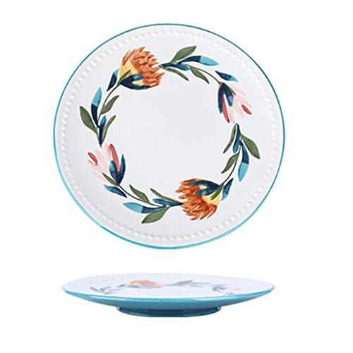 PLEASUR Restaurant Steak Teller Western Food Tray Round Dish Nordisches Geschirr Obst und Gemüse Teller Persönlichkeit Teller (Farbe: Weiß, Größe: 21,5 * 2,5 cm)