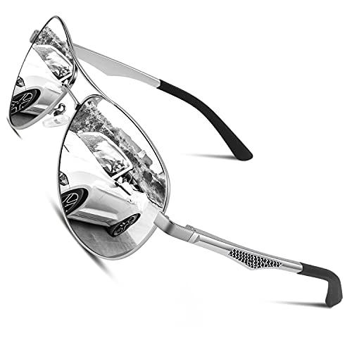 CGID GA61 Premium Al-Mg Alloy Pilot Polarized Sunglasses UV400, Full Mirrored Spring Hinges Sun Glasses for Men Women Mens Shades