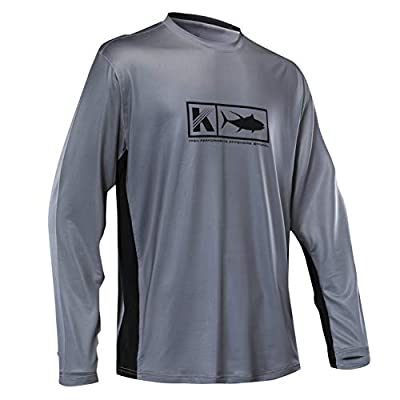 Performance Fishing Shirt Vented Long Sleeve Shirt Sun Protection UPF50 Moisture Wicking Rash Guard with Mesh Sides Loose Fit, Charcoal,Large