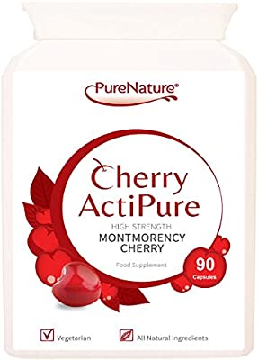 90 Cherry Actipure 100% Pure Montmorency Cherry 50% Higher Strength Than Most Brands For Best Results |100% Quality Assured Money Back Guarantee| Free UK Delivery (90) by PureNature