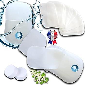 JaMoonLBV JmL Marque Francaise - Feuilles de Savon Desinfectantes & Biodegradables pour Lavage Mains - Mini Boite Plastique Portable - Plein Air, Randonnee & Cadeau - Papier Doux Hydrosoluble Jetable