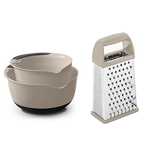 Gorilla Grip Mixing Bowl Set of two and Box Grater, Both in Almond Color, Mixing Bowls Include 5 Qt and three Qt Sizes, Grater is 4-Sides, Includes Detachable Container, 2 Item Bundle