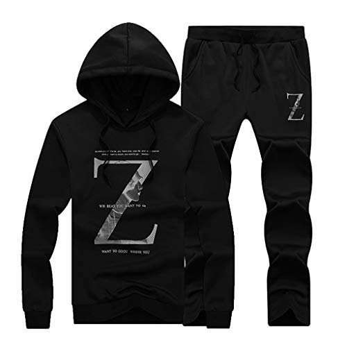 Men's Casual Long Sleeved Alphabetic Printing Hoodie Sports Suit Tops Pants Set by LuckyGirls