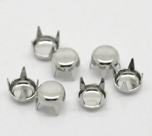 Bryocy (TM) 500PCS argento tondo Spike borchie rivetto per vestiti decorativo rivetti 5mm (2/20,3cm)