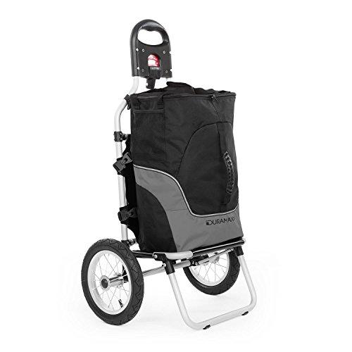 DURAMAXX Carry Grey - Rimorchio per Bicicletta, con Borsa A Mano Rimovibile, Telaio in Metallo e Borsa in plastica, Anche Come carretto a Mano, Ruote 12', Max. 20 kg Nero/Grigio