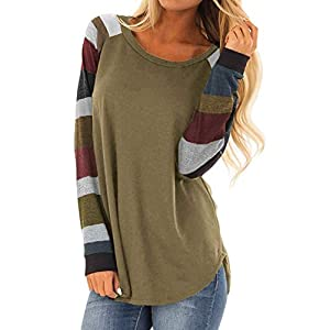 Women's Tops Shirts Long Sleeve Casual Blouses  Loose  Striped Tunics