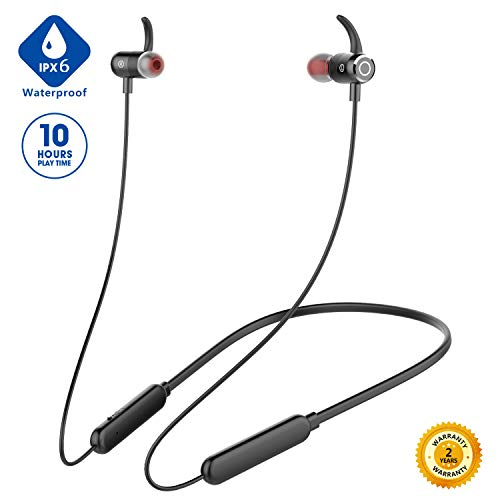 [Newest 2020]Bluetooth Headphones Neckband,Premium 10Hrs Playtime Wireless 5.0 Earbuds Sport Magnetic Earphones w/Mic,Waterproof IPX6,Deep Bass Earbuds for Workout Running Gym,Noise Cancelling (Black)