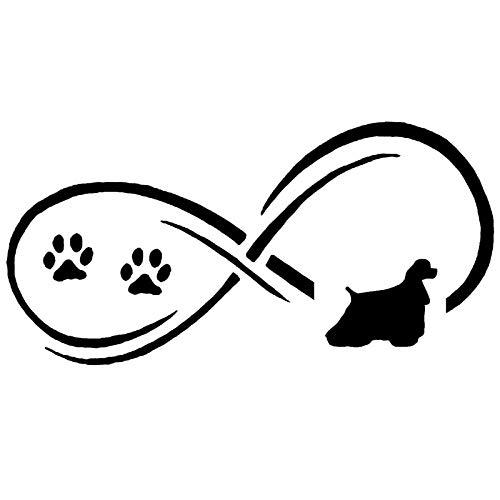 SHMAZ 17,7 * 8,9 Cm Cocker Spaniel Mascota Perro Pata Impresión Clásico Divertido Coche Decoración del Cuerpo Pegatinas Negro/Plata